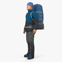 Winter Hiking Clothes Men with Backpack Standing Pose