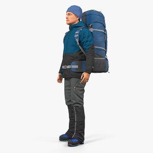 winter hiking clothes men model