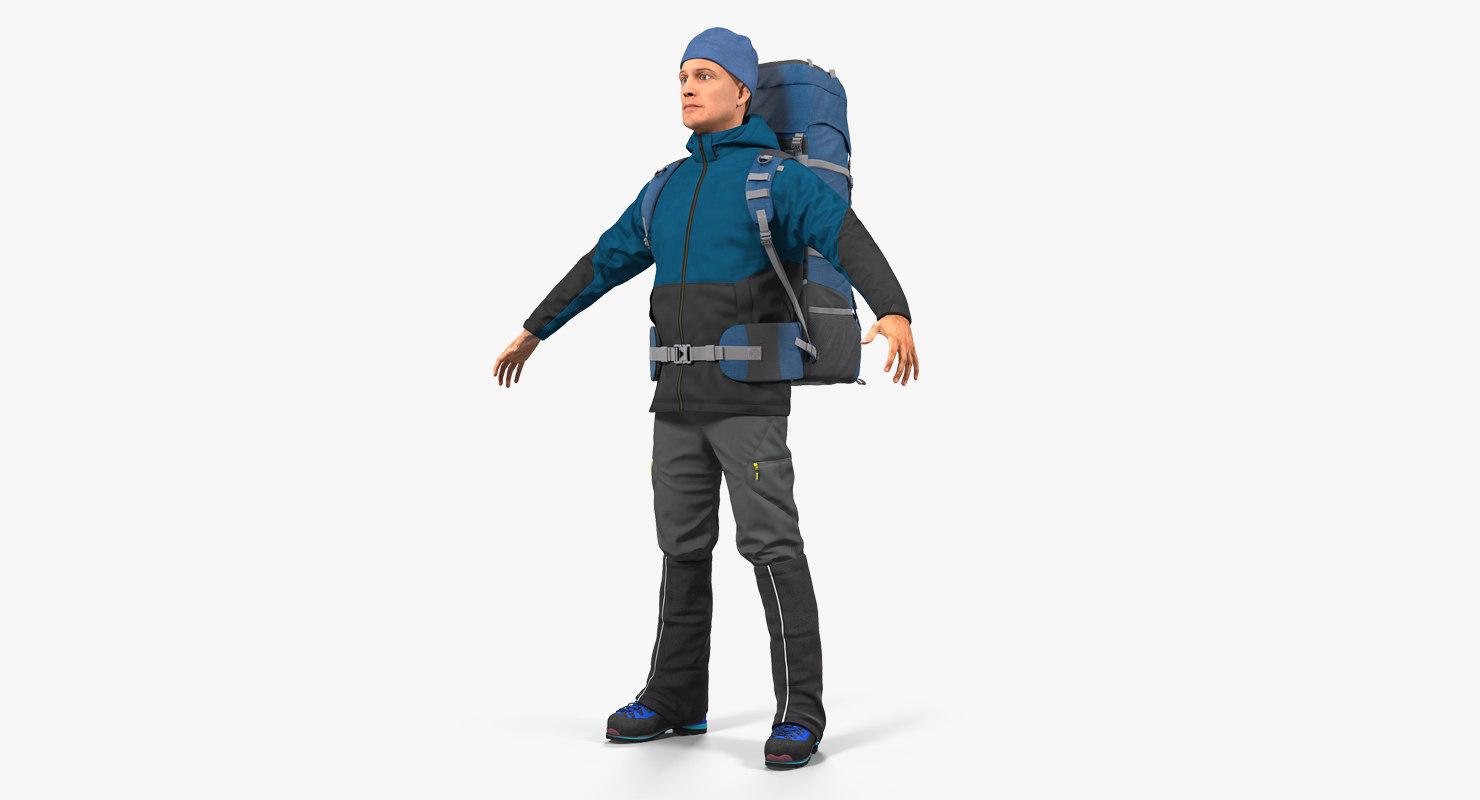 winter hiking clothes men 3D model