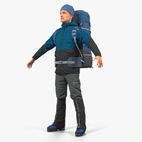 winter hiking clothes men 3D model