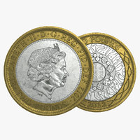 pounds british coin 3D