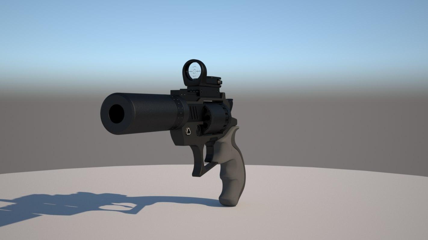 revolver scifi gun 3D