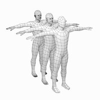 Male Low Poly Base Mesh in T-Pose