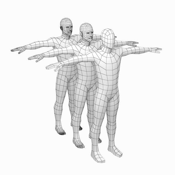 mesh male body t-pose 3D model