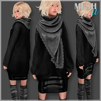 3D sweater scarf set