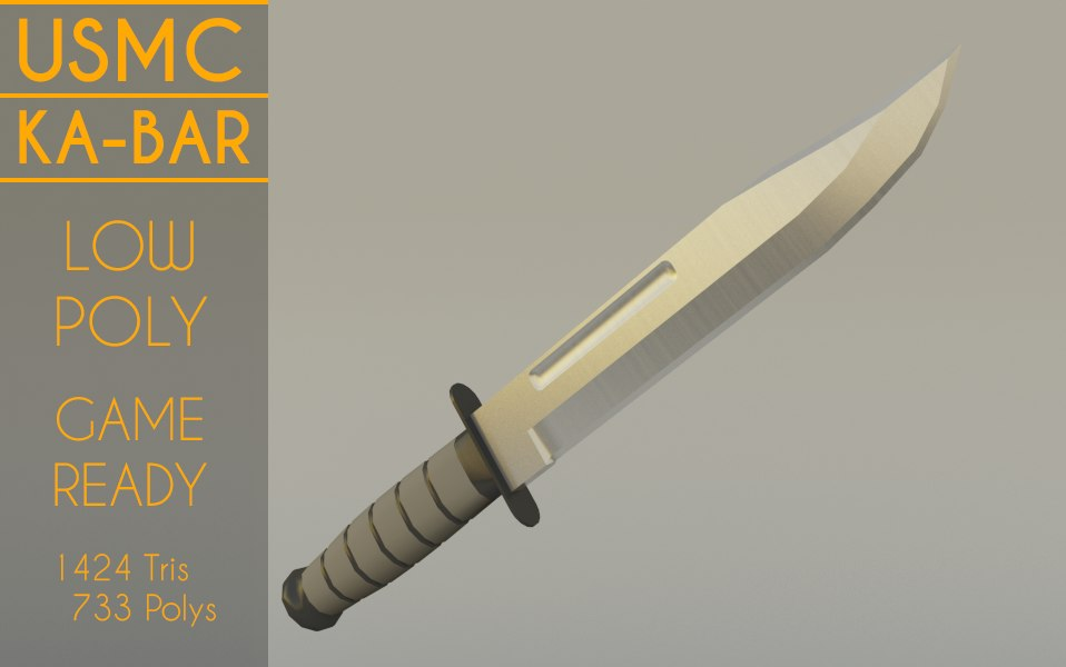 3D marine ka-bar combat knife