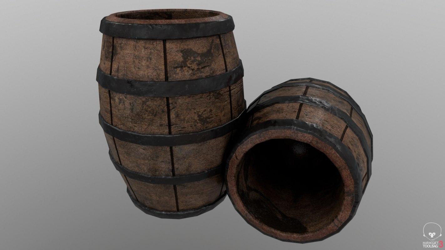 3D wooden barrel asset