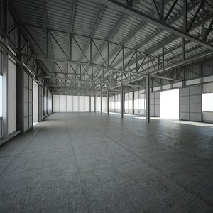 3D modern warehouse factory hall interior