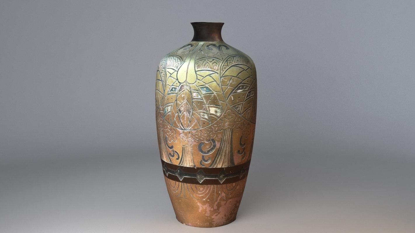 realistic aged vase 3D model