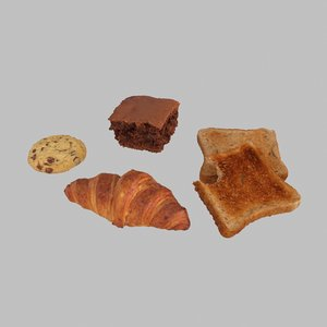 3D model pastry breakfast