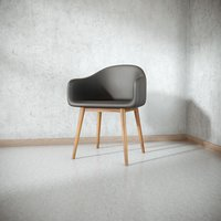 3D black leather loft chair