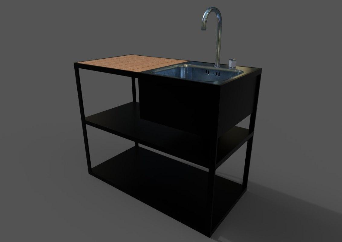 garden kitchen sink ar 3D model