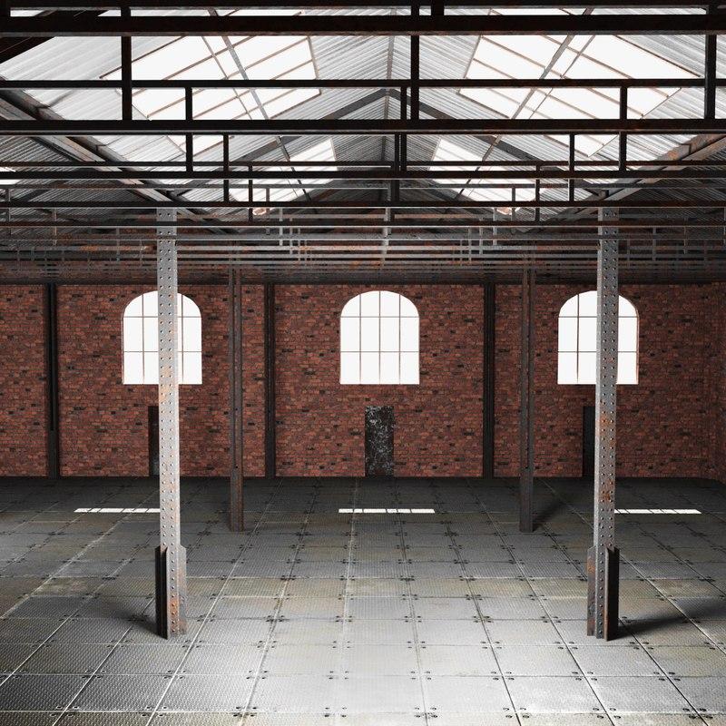 3D model old brick warehouse interior