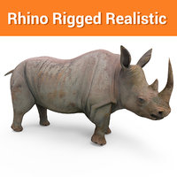 realistic rhino rigged 3D model