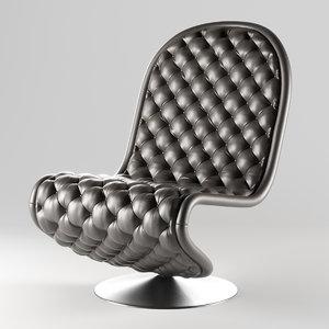 3D model verpan 1-2-3 chair lounge