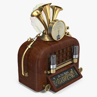 steampunk vintage radio 3D model