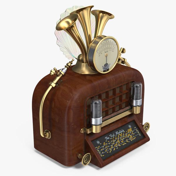 steampunk vintage radio 3D model