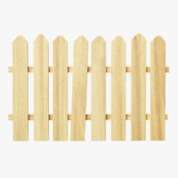 3D wooden fence segment separated model