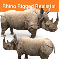 realistic rhino rigged 3D