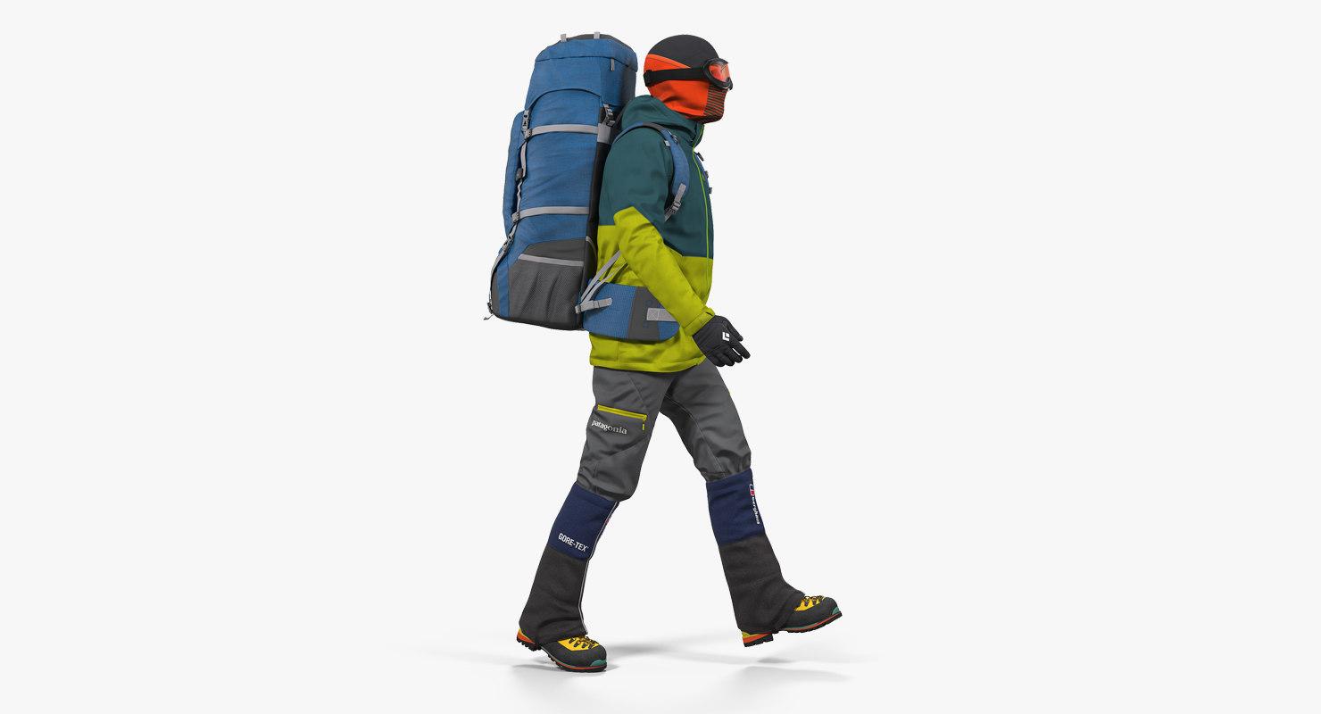 3D man traveler backpack walking