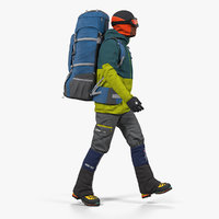 Man Traveler with Backpack Walking Pose