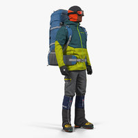 Man Traveler with Backpack Standing Pose