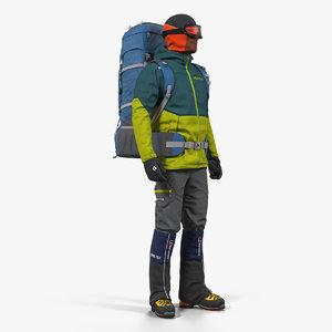 man traveler backpack standing 3D model