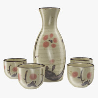 3D japanese sake service set