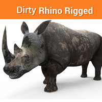 dirty rhino rigged 3D model