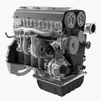 3D inline 6 cylinder car engine model
