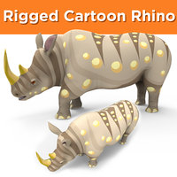 3D cartoon rhino rigged
