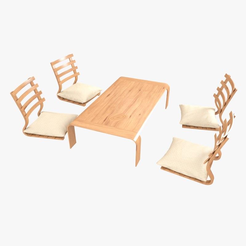 3D model japanese minimalistic table set