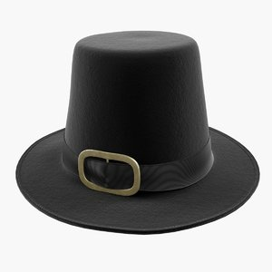 3D model black pilgrim costume hat