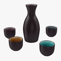 5 piece ceramic sake model
