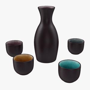 5 piece ceramic sake model