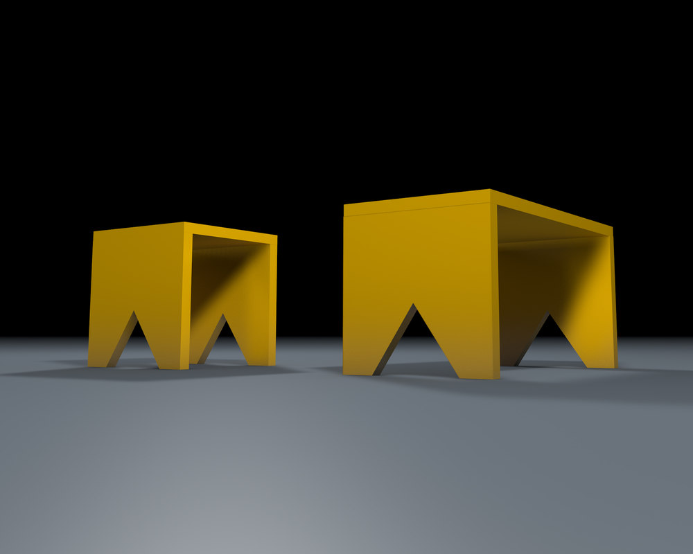 yellow wooden stool banquette 3D model