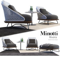 3D armchair rivera minotti model