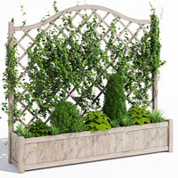 3D oxford wooden trellis planter model