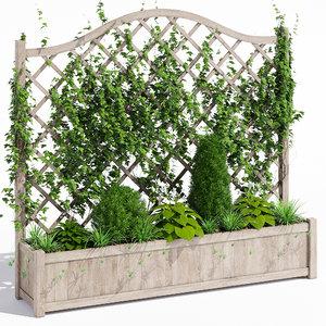 3D oxford wooden trellis planter model