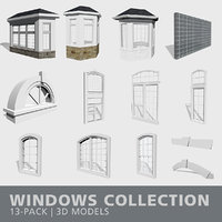 3D model windows bay mullions