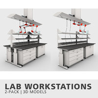 lab workstations 3D model