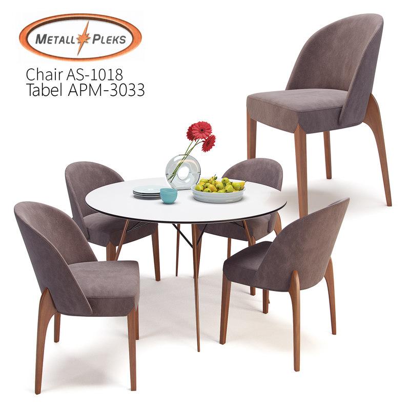 table metall pleks chair 3D