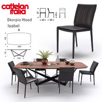 table scorpio wood cattelan 3D