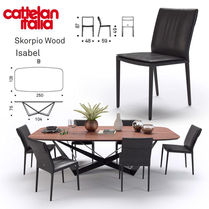 table scorpio wood cattelan 3D