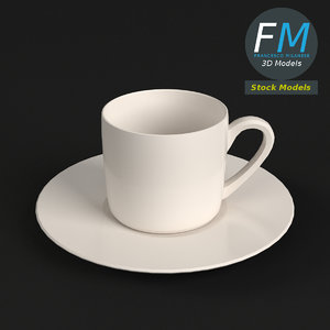 3D small coffee cup saucer