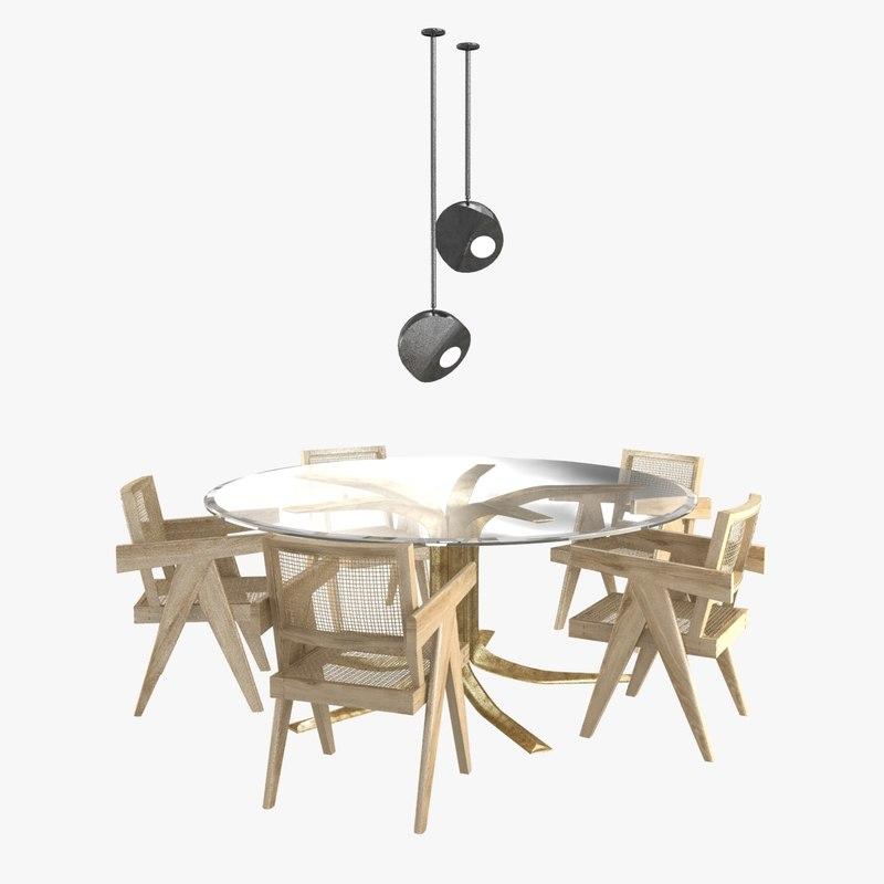 3D chair table pierre jeanneret