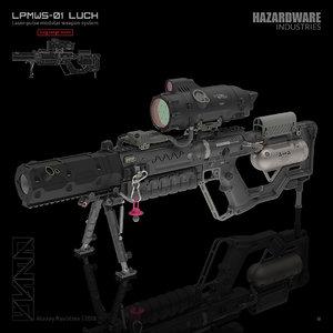 sci-fi sniper rifle 3D model
