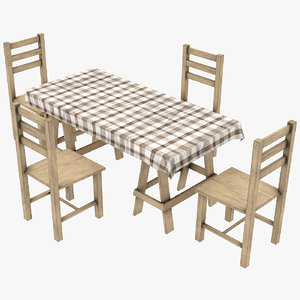 3D wood dining set