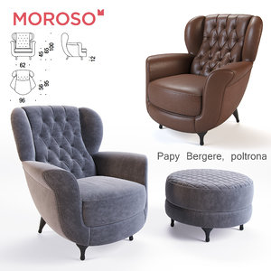 3D model moroso papy bergere armchair