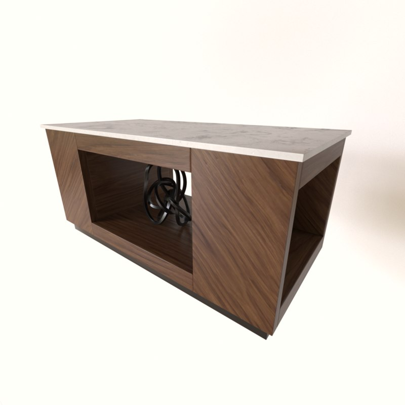 marble wood coffee table 3D model